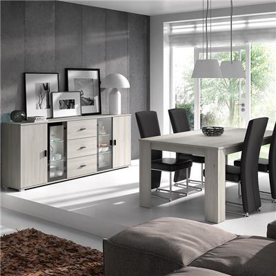 M-027 Salle à manger contemporaine couleur chêne gris SOPHIE-L 180 x P 100 x H 75 cm- Gris Gris