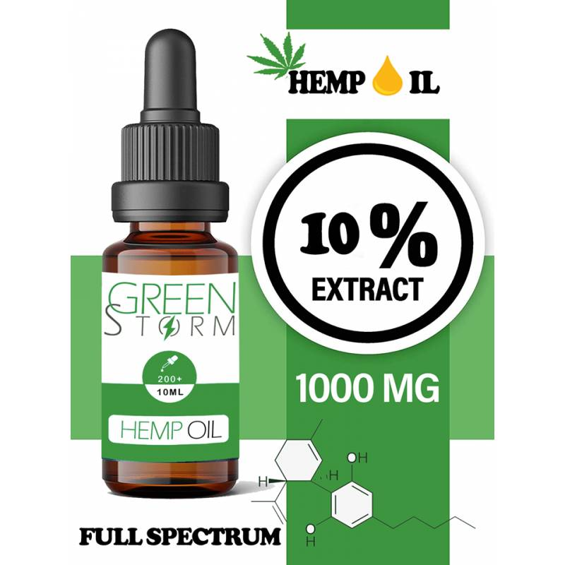 Greenstorm huile Huile de chanvre spectre complet 10% 1000mg 10ml Hemp Oil Full spectrum