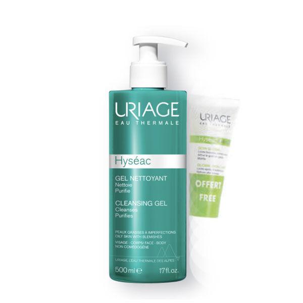 Uriage Hyséac gel nettoyant 500ml + 3-régul soin global 15ml offert