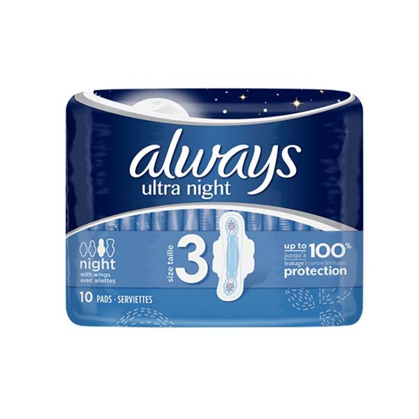 Always Ultra night 10 serviettes hygiéniques taille 3