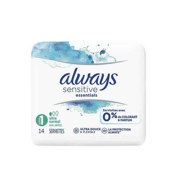 Always Sensitive essentials taille 1 ultra normal 14 serviettes avec ailettes