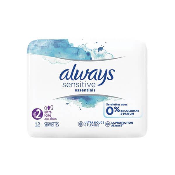 Always Sensitive essentials taille 2 ultra long 12 serviettes avec ailettes