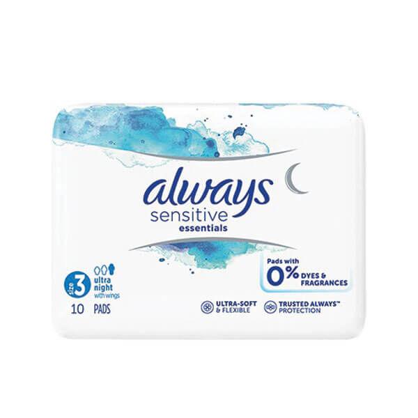 Always Sensitive essentials taille 3 ultra night 10 serviettes avec ailettes