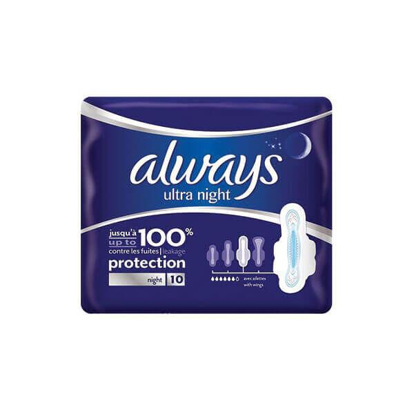 Always Always ultra night 10 serviettes