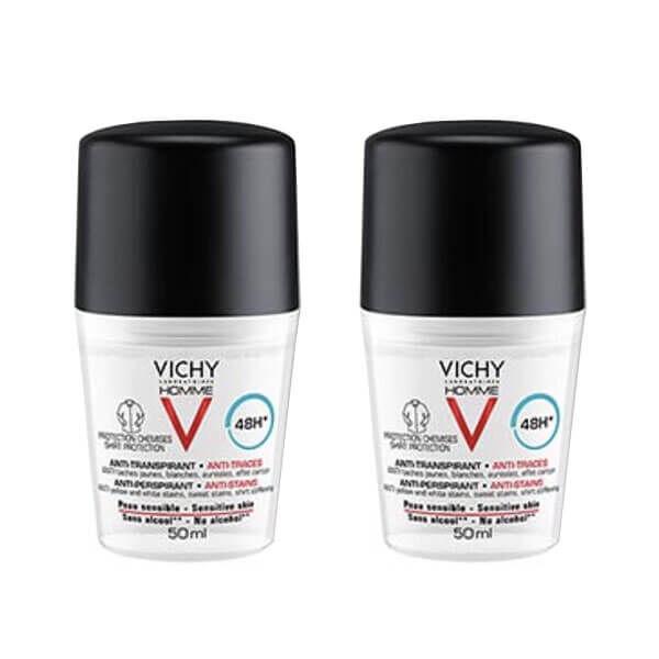 Vichy Homme déodorant anti-transpirant 48H anti-traces lot 2x50ml