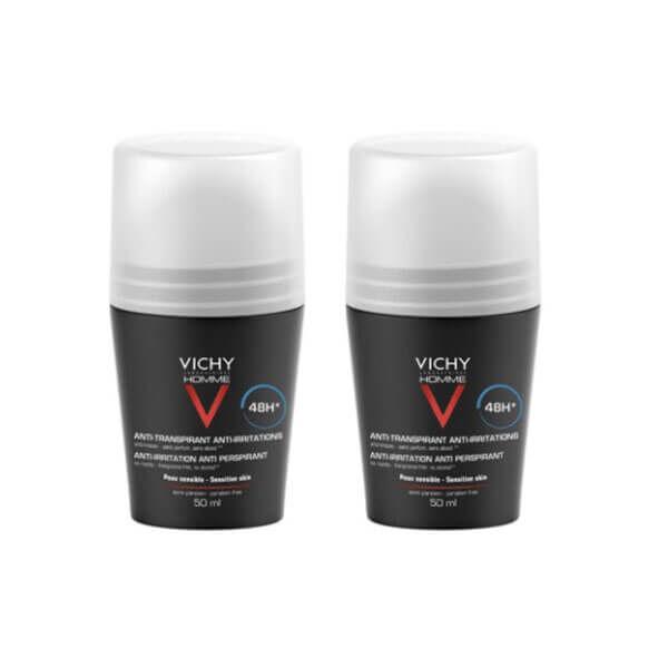 Vichy Homme déodorant anti-transpirant anti-irritations 48h 2x50ml