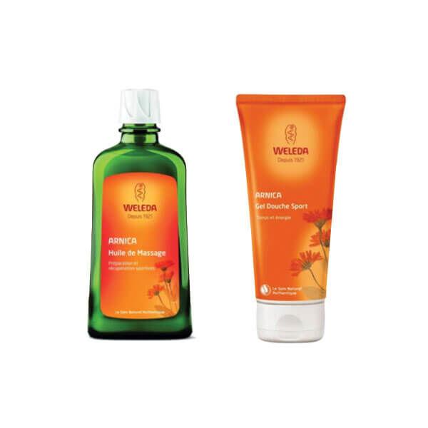 Weleda Huile de massage à l'arnica 200ml + gel douche 200ml offert