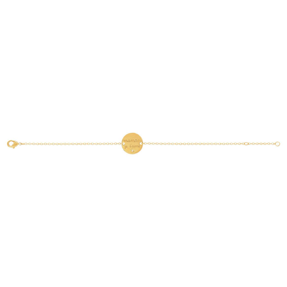 MATY Bracelet plaqué or médaille maman je t'aime zirconia 18 cm- MATY