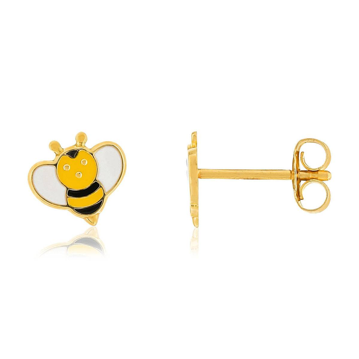 MATY Boucles d'oreilles or 375 jaune laque abeilles- MATY