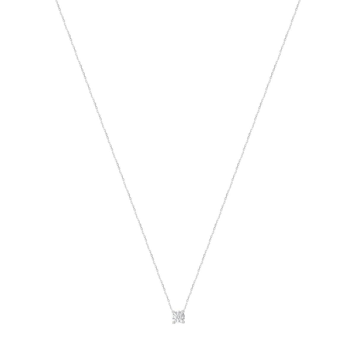 MATY Collier or 750 blanc diamant synthétique 0,50 carat 42 cm- MATY