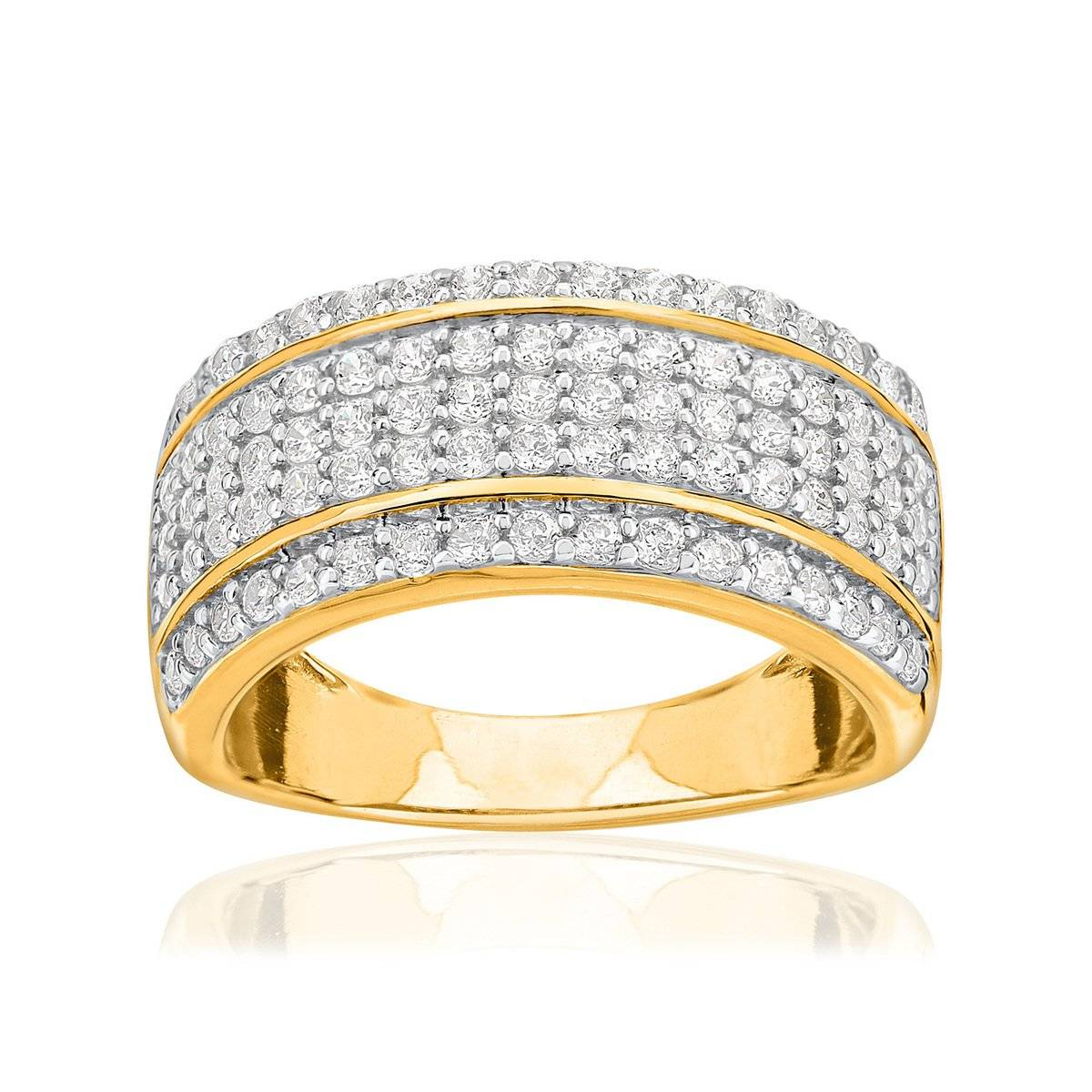 MATY Bague or 750 2 tons diamants synthétiques 1 carat- MATY