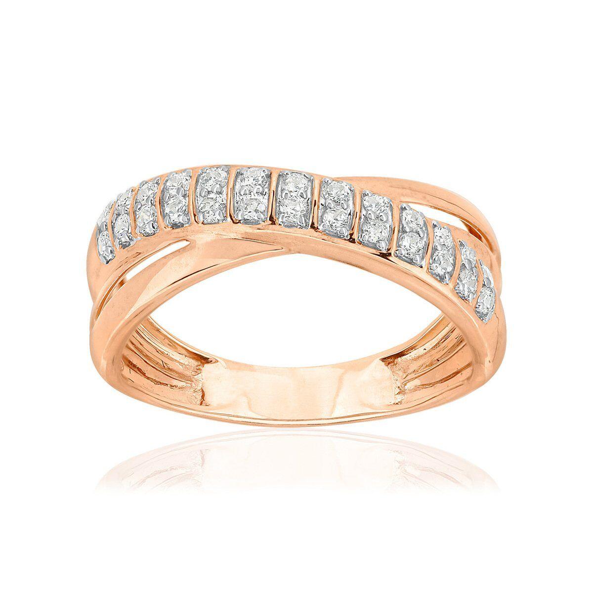 MATY Bague or 750 rose 2 tons anneaux croisés diamants synthétiques 0,25 carat- MATY