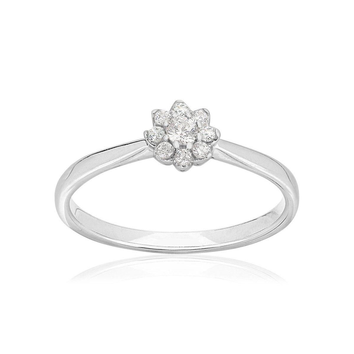 MATY Bague or 750 blanc fleur diamants synthétiques 0,15 carat- MATY