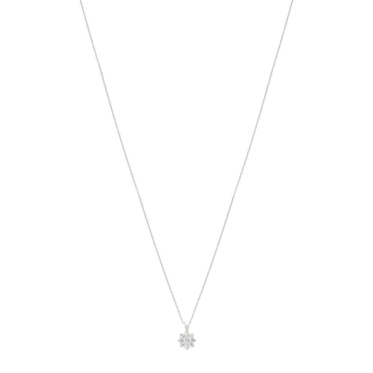 MATY Collier or 750 blanc fleur diamants synthétiques 0,25 carat 42 cm- MATY