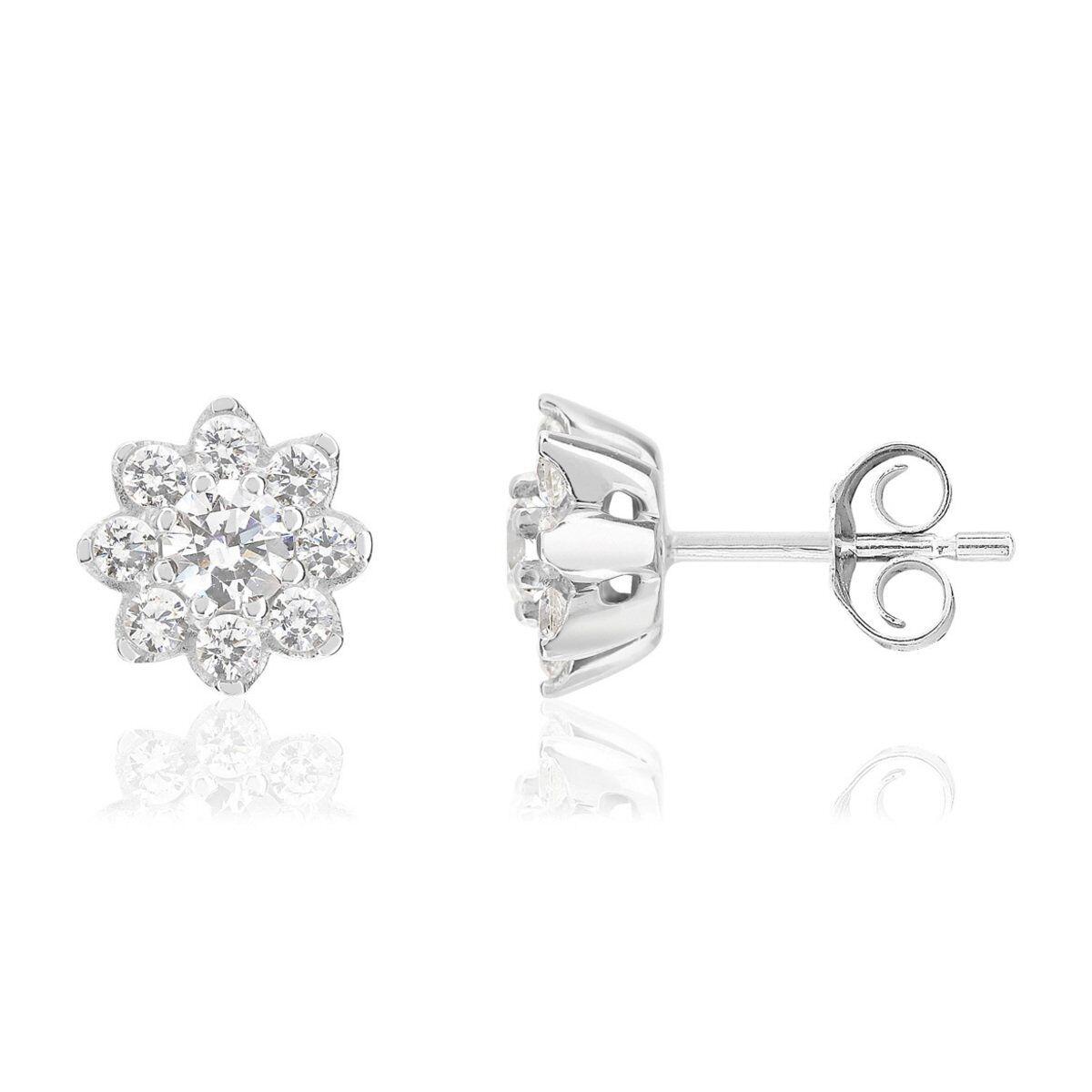 MATY Boucles d'oreilles or 750 blanc fleurs diamants synthétiques 0,79 carat- MATY