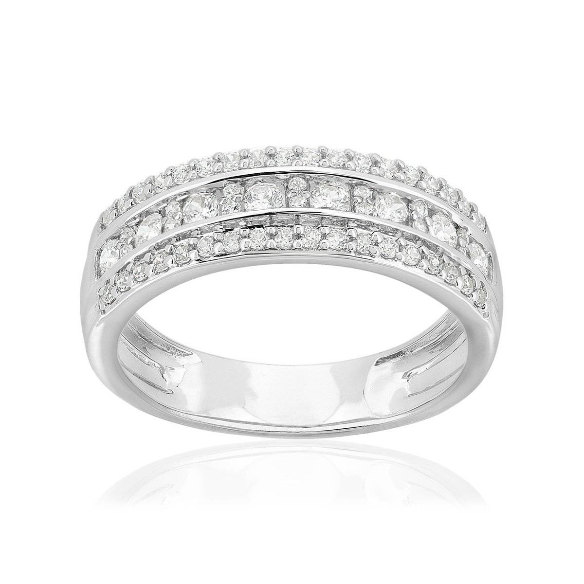 MATY Bague or 750 blanc diamants synthétiques 0,5 carat- MATY