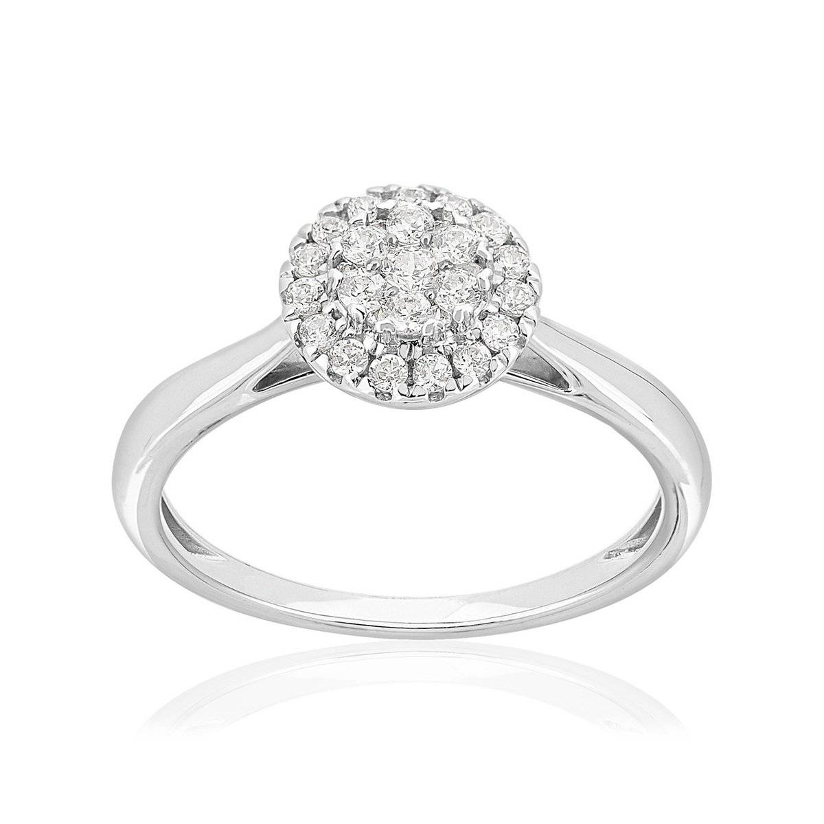 MATY Bague or 750 blanc diamants synthétiques 0,33 carat- MATY