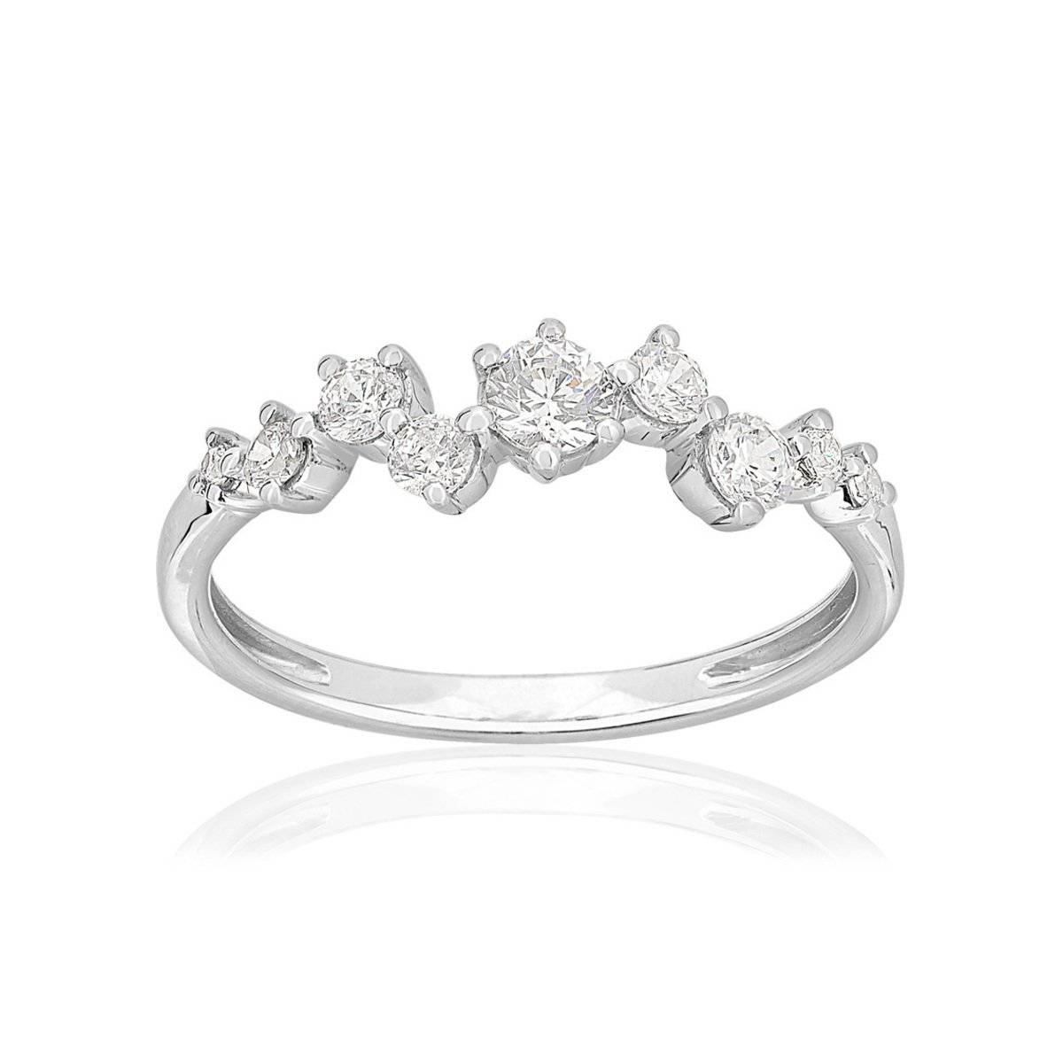 MATY Bague or 750 blanc diamants synthétiques 0,46 carat- MATY