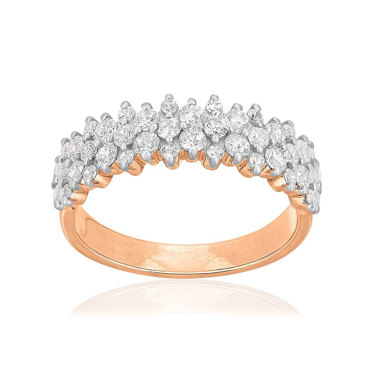 MATY Bague or 750 rose 2 tons diamants synthétiques 0,95 carat- MATY