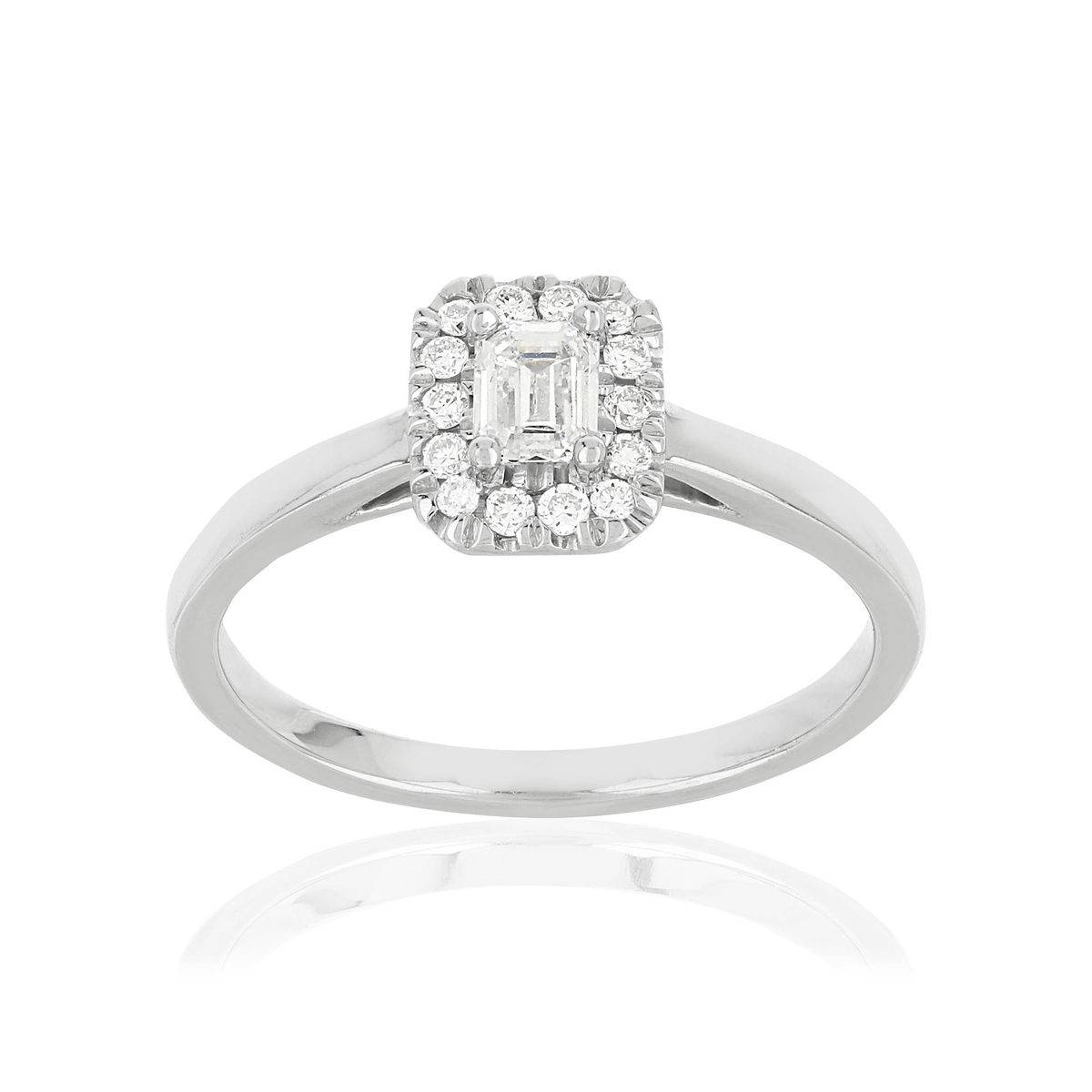 MATY Bague or 750 blanc rectangulaire diamants synthétiques 0,34 carat- MATY