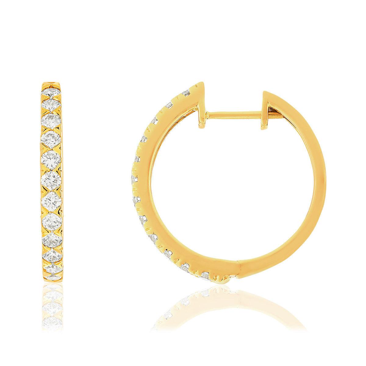 MATY Créoles or 750 jaune diamants synthétiques 1 carat- MATY
