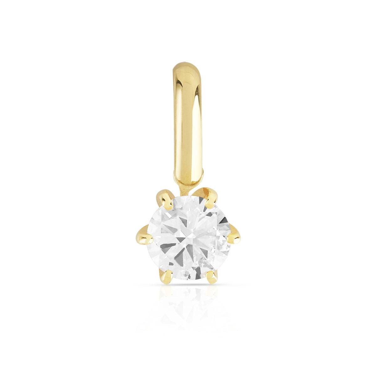 MATY Pendentif or 750 diamant synthétique 0.30 carat- MATY