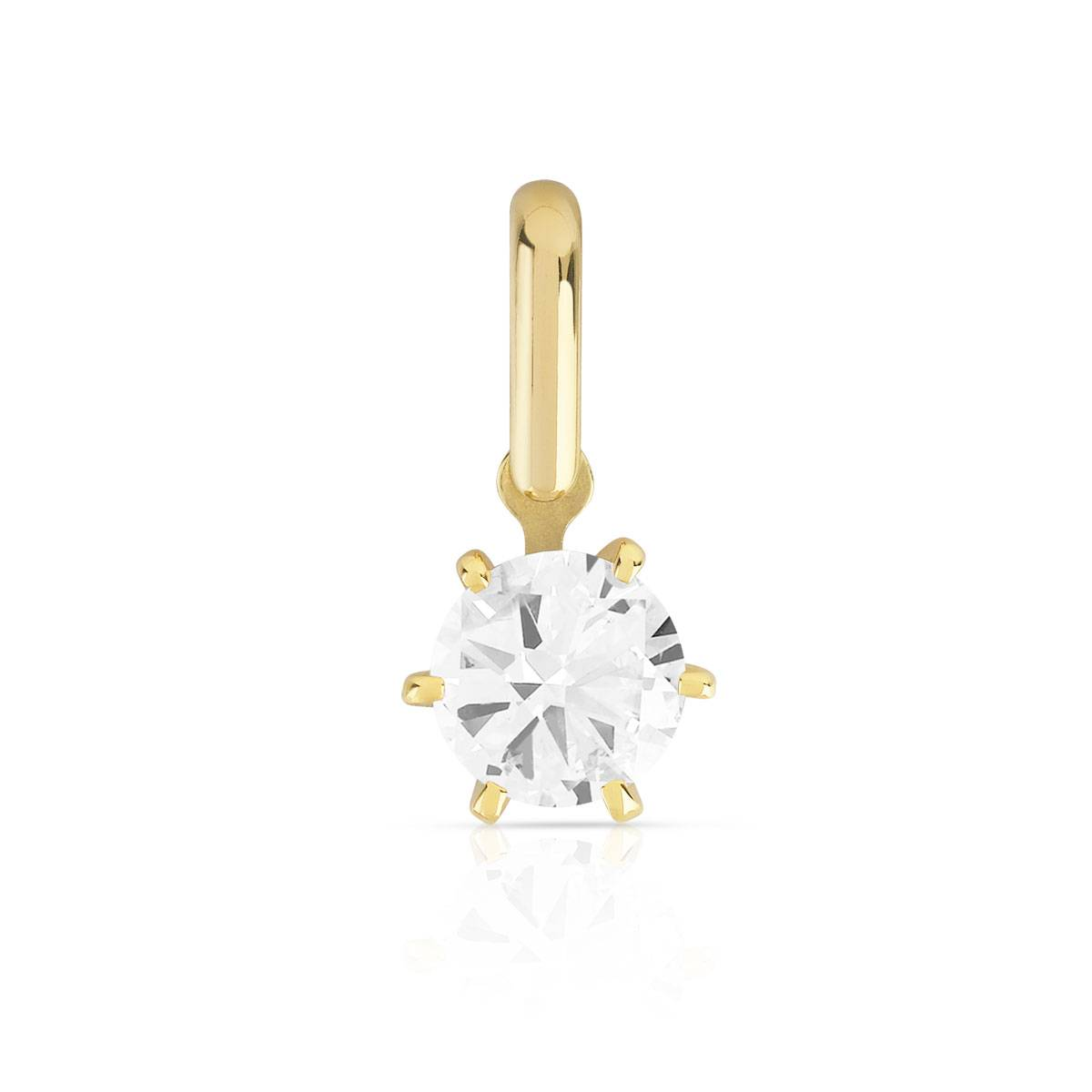 MATY Pendentif or 750 diamant synthétique 0.40 carat- MATY