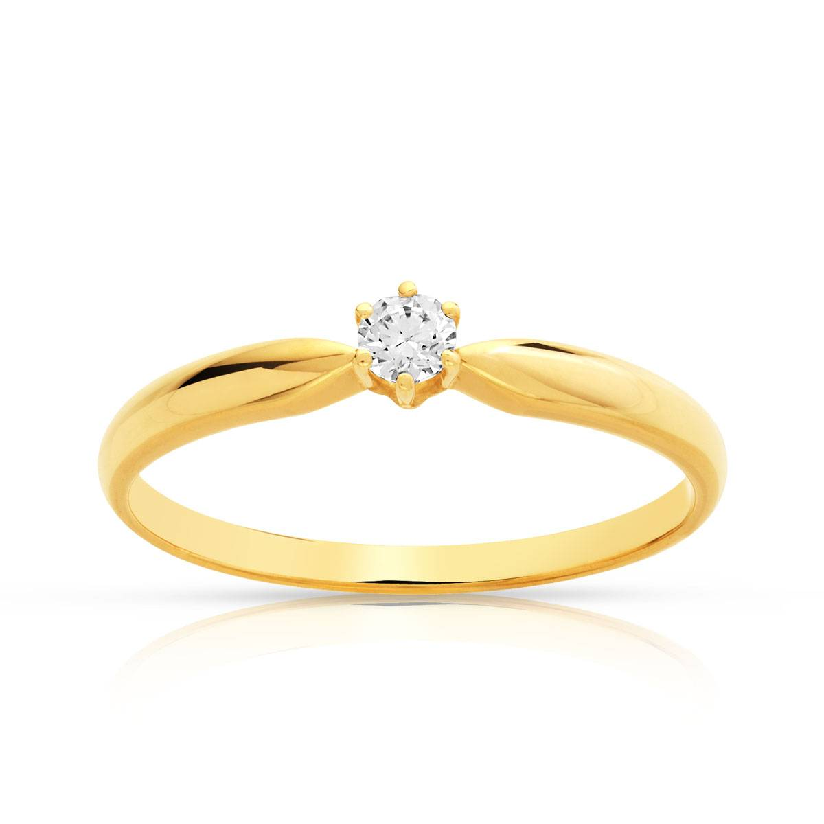 MATY Solitaire or 750 jaune diamant synthétique 0,1 carat- MATY
