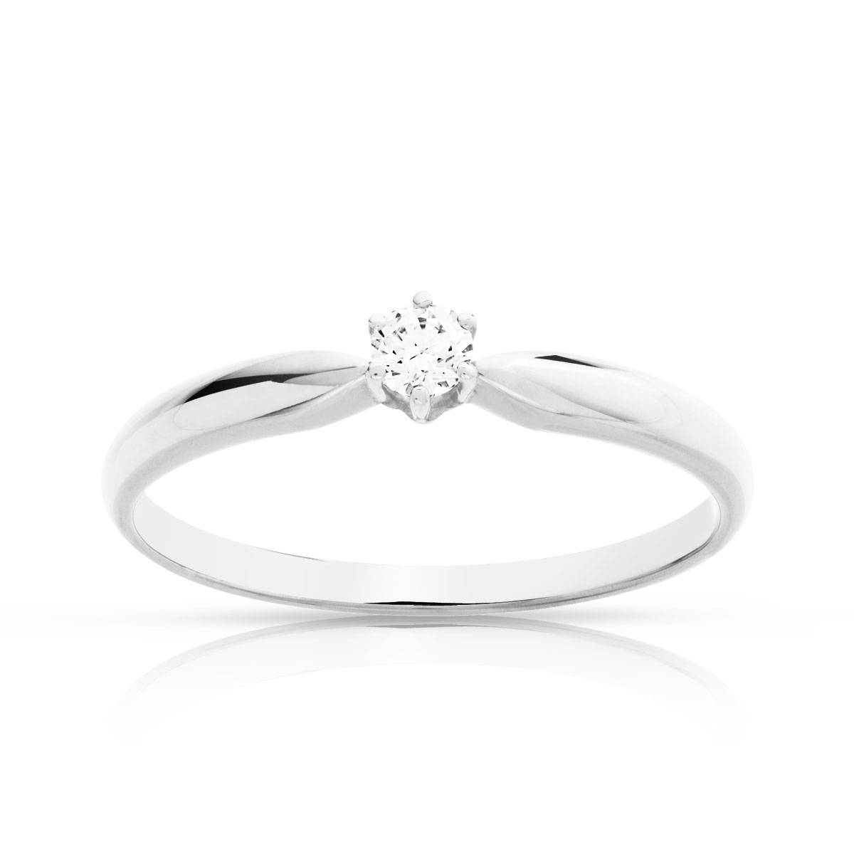 MATY Solitaire or blanc 750 diamant synthétique 0,1 carat- MATY