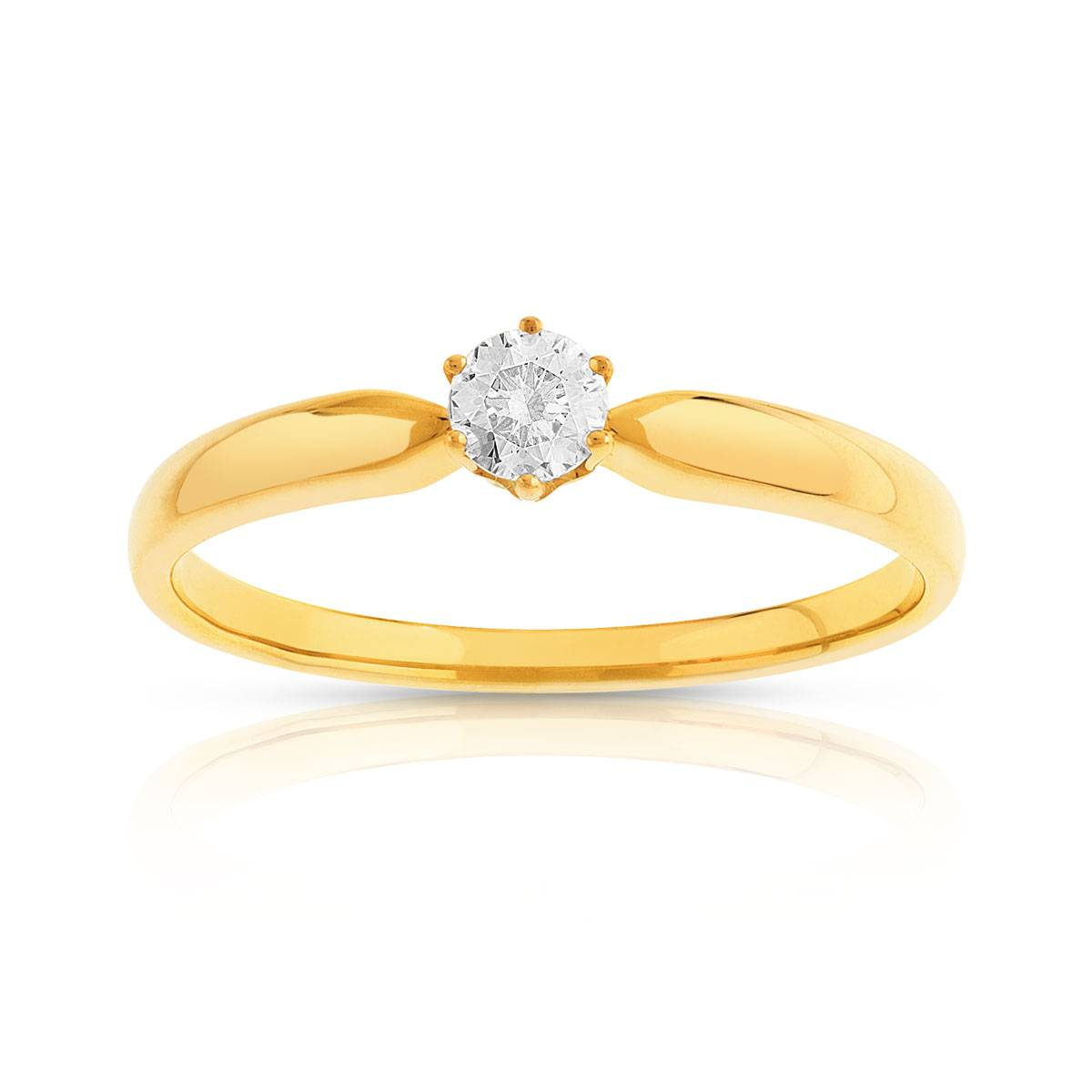 MATY Bague solitaire or 750 diamant synthétique 0.15 carat- MATY