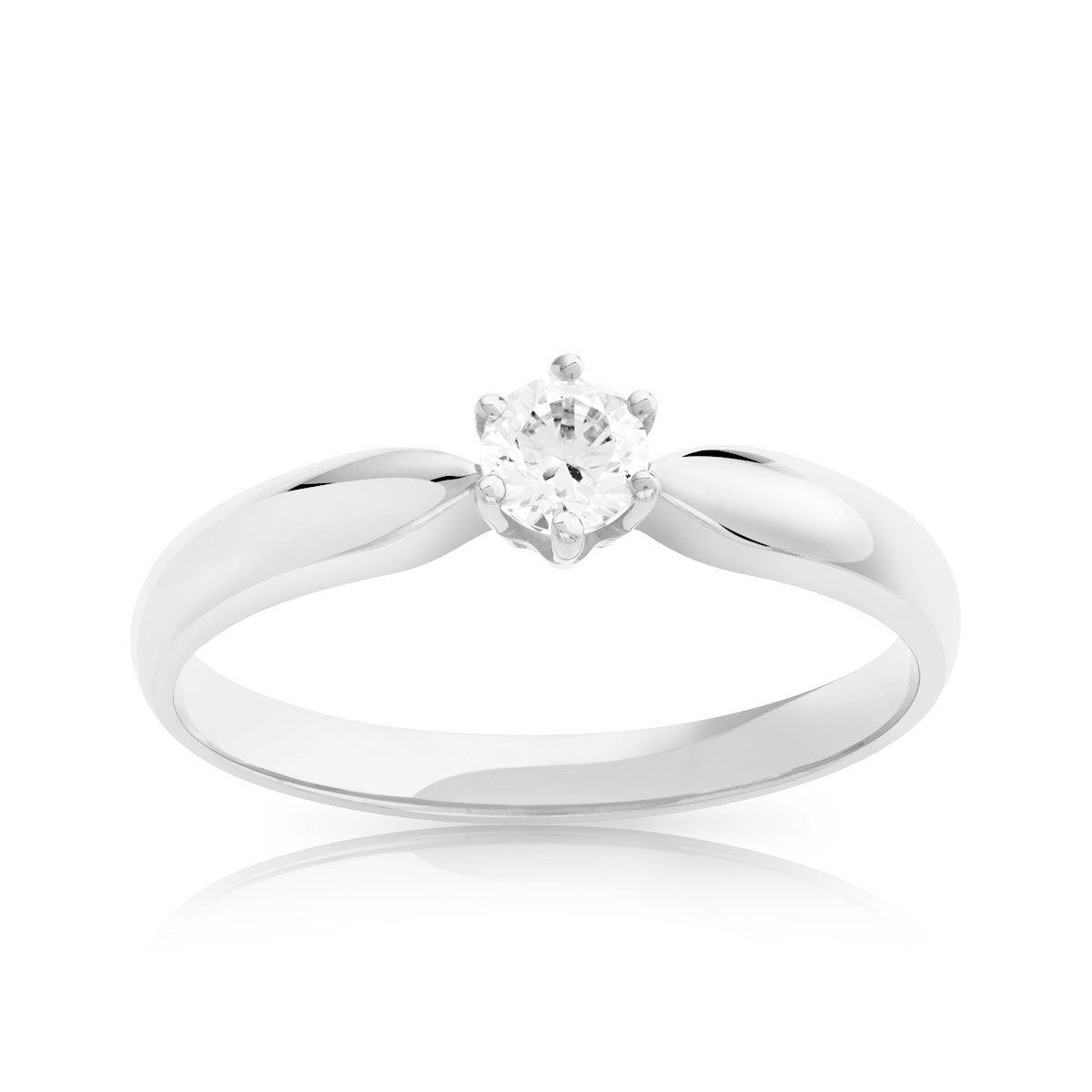 MATY Bague Solitaire or 750 blanc diamant 0.20 carat- MATY
