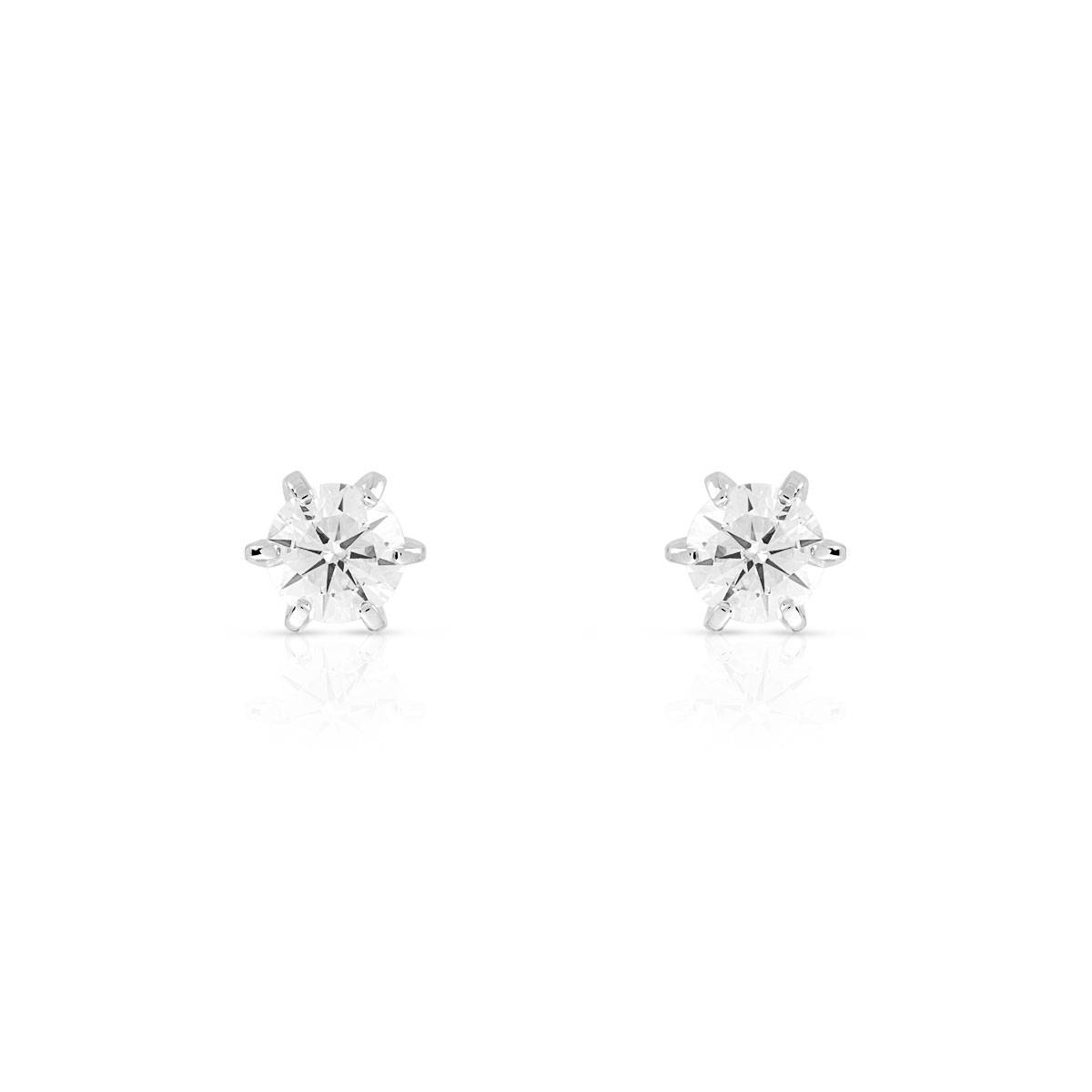 MATY Boucles d'oreilles or 750 blanc diamants synthétiques 0.40 carat- MATY
