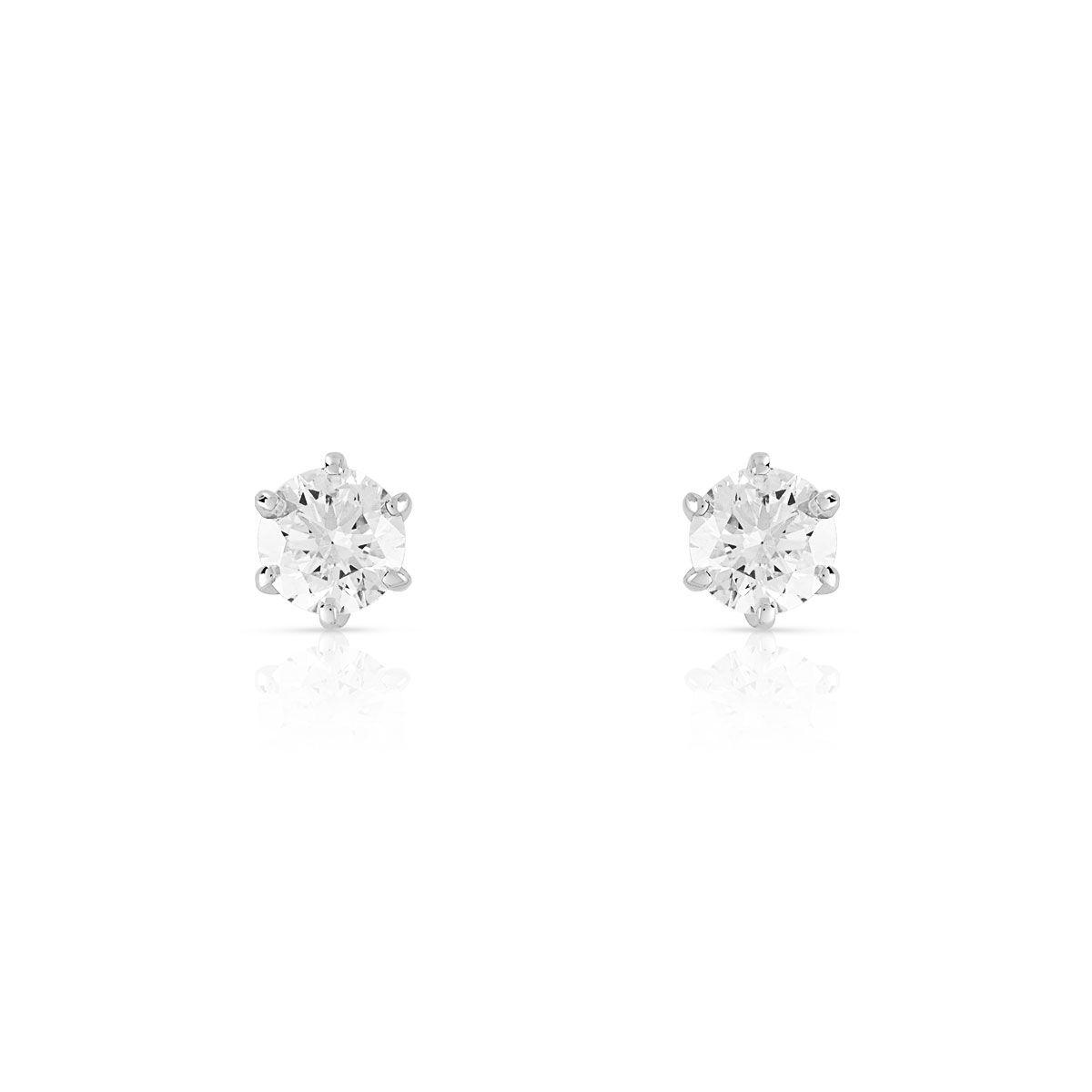 MATY Boucles d'oreilles or 750 blanc diamants synthétiques 0.50 carat- MATY