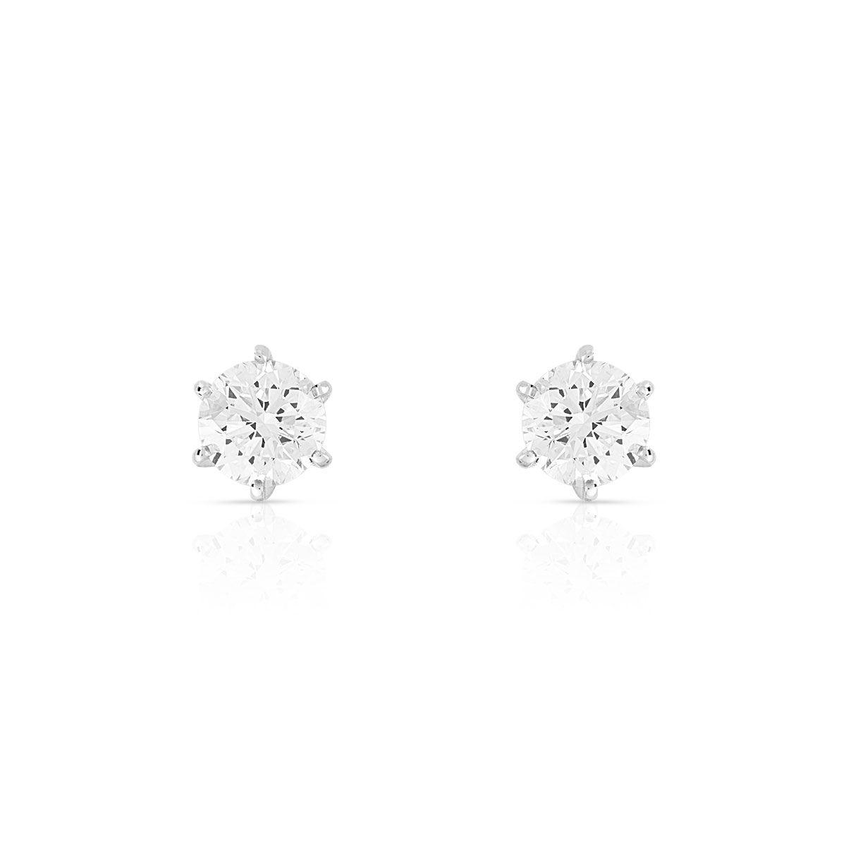 MATY Boucles d'oreilles or 750 blanc diamants synthétiques 0.80 carat- MATY