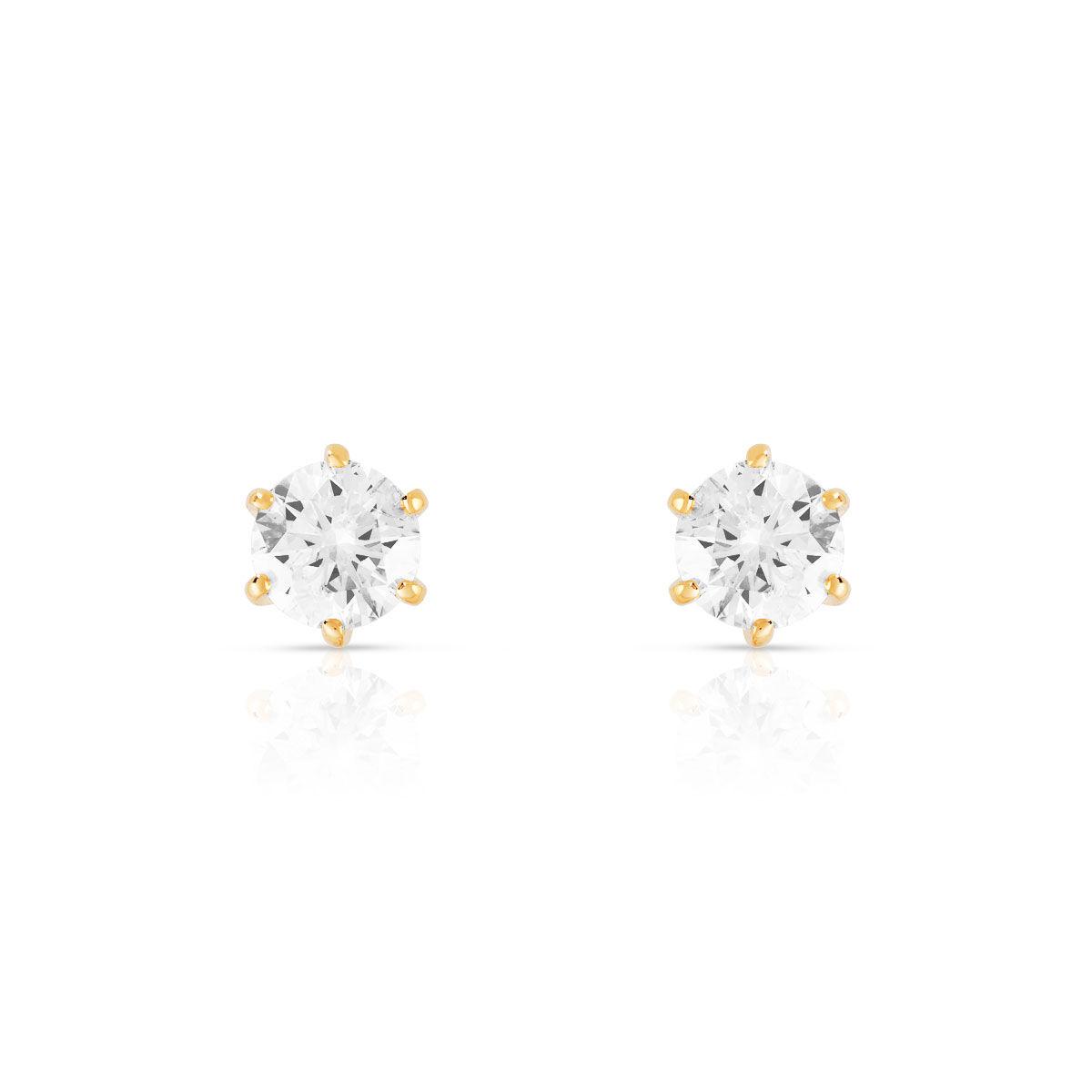 MATY Boucles d'oreilles or 750 jaune diamants synthétiques 1 carat- MATY