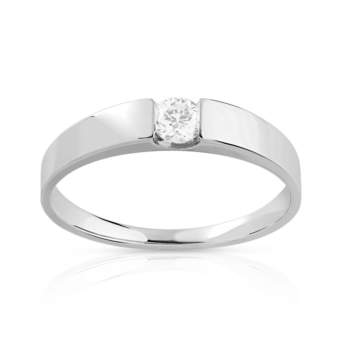 MATY Bague solitaire or 750 blanc diamant synthétique 0.15 carat- MATY