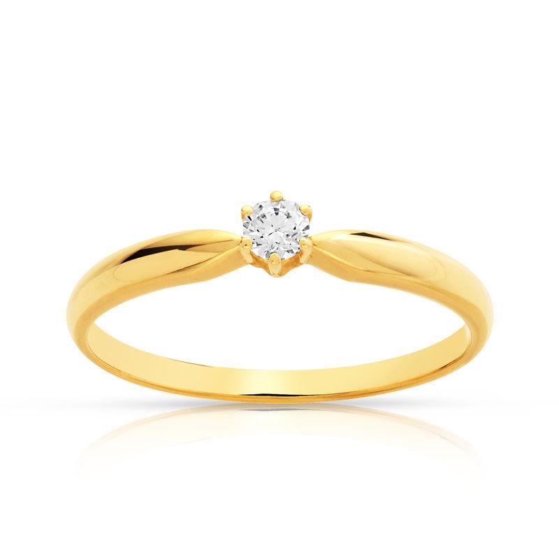 MATY Bague solitaire or 750 diamant 10/100e de carat- MATY