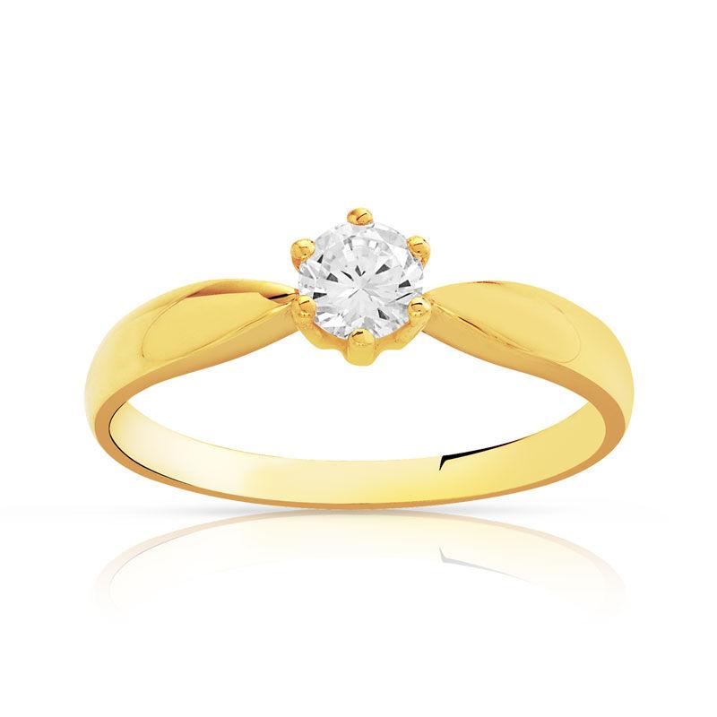 MATY Bague solitaire or 750 jaune diamant 30/100e de carat- MATY