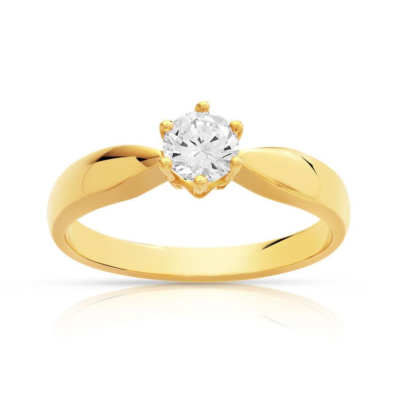 MATY Bague solitaire or 750 jaune diamant 40/100e de carat- MATY