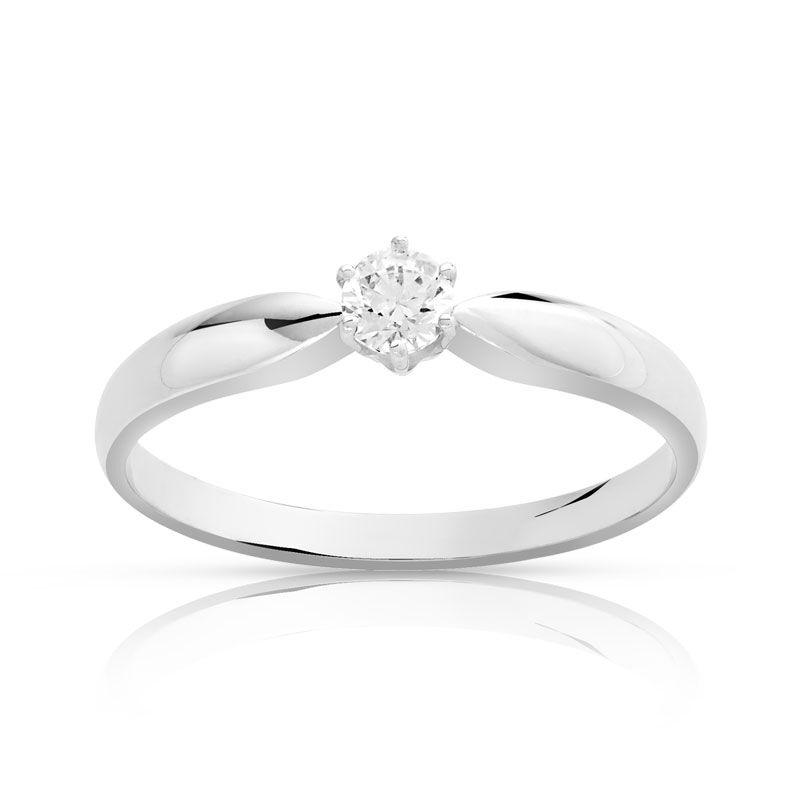 MATY Bague solitaire or 750 blanc diamant 15/100e de carat- MATY