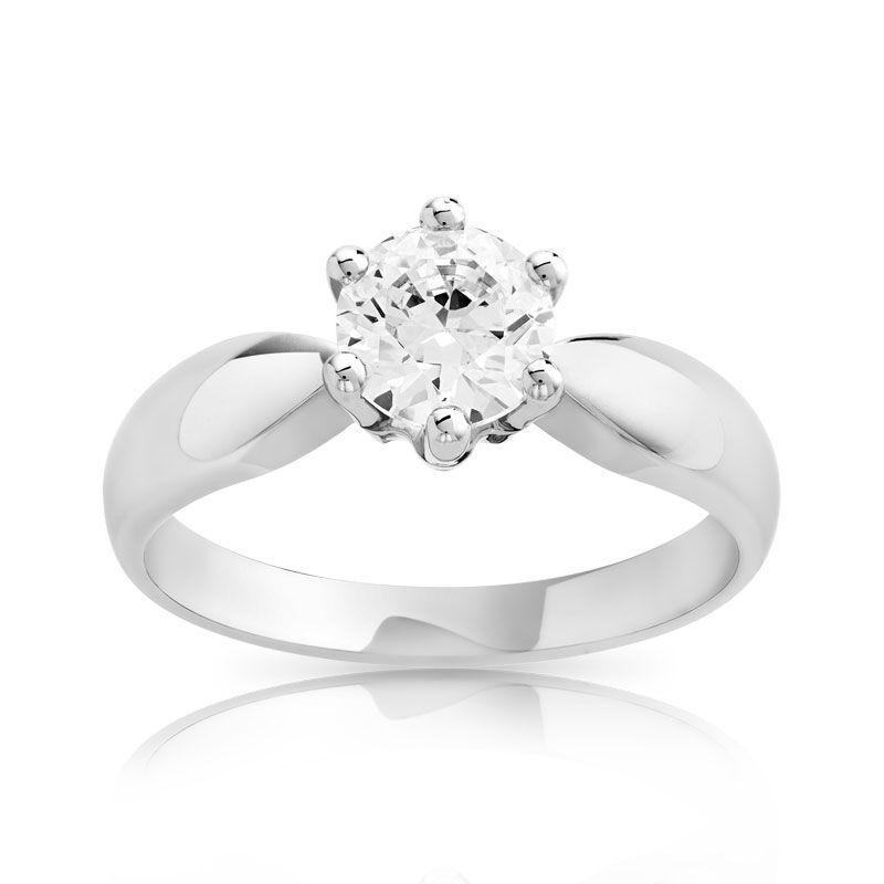 MATY Bague solitaire or 750 blanc diamant 80/100e de carat- MATY