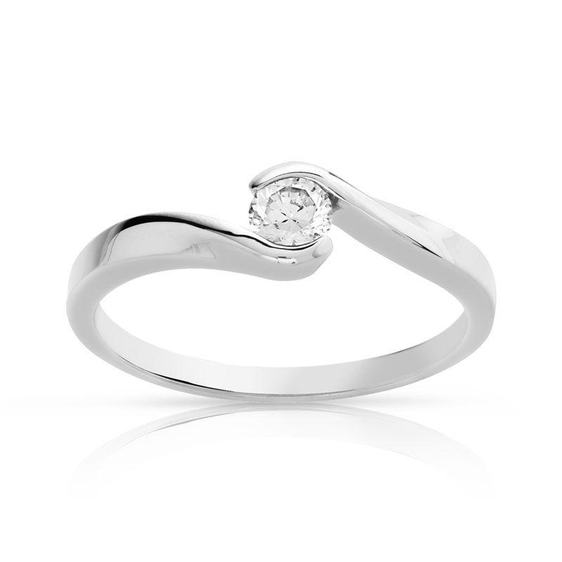 MATY Bague solitaire or 750 blanc diamant 30/100e de carat- MATY