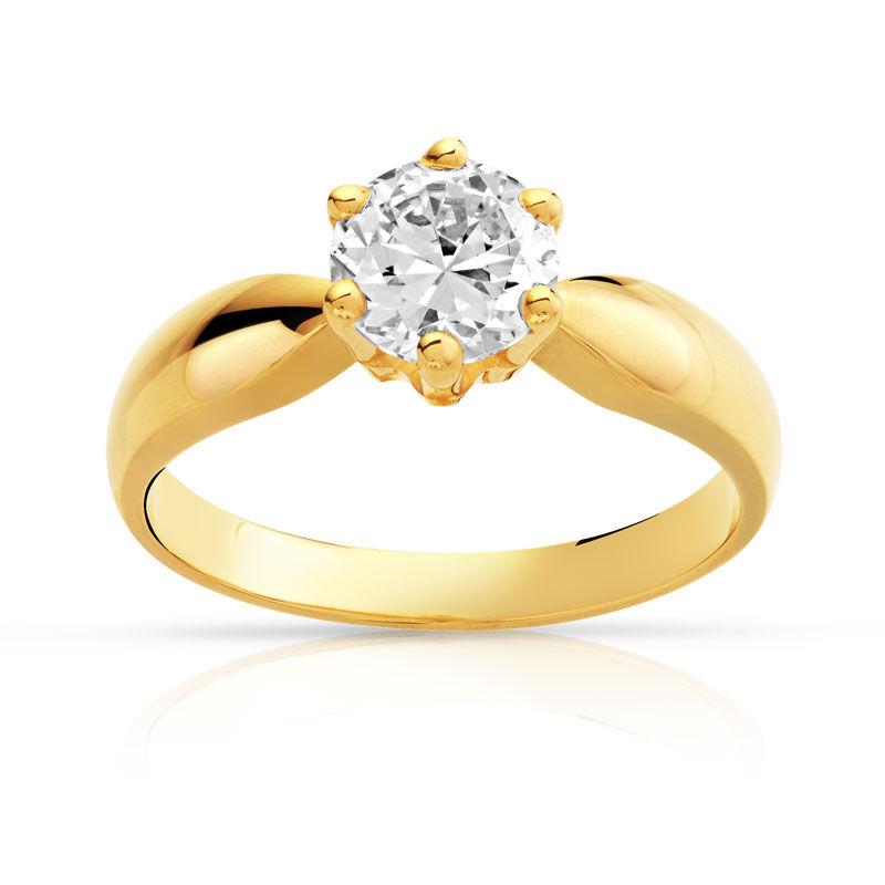 MATY Bague solitaire or 750 jaune diamant 1 carat H/P1- MATY