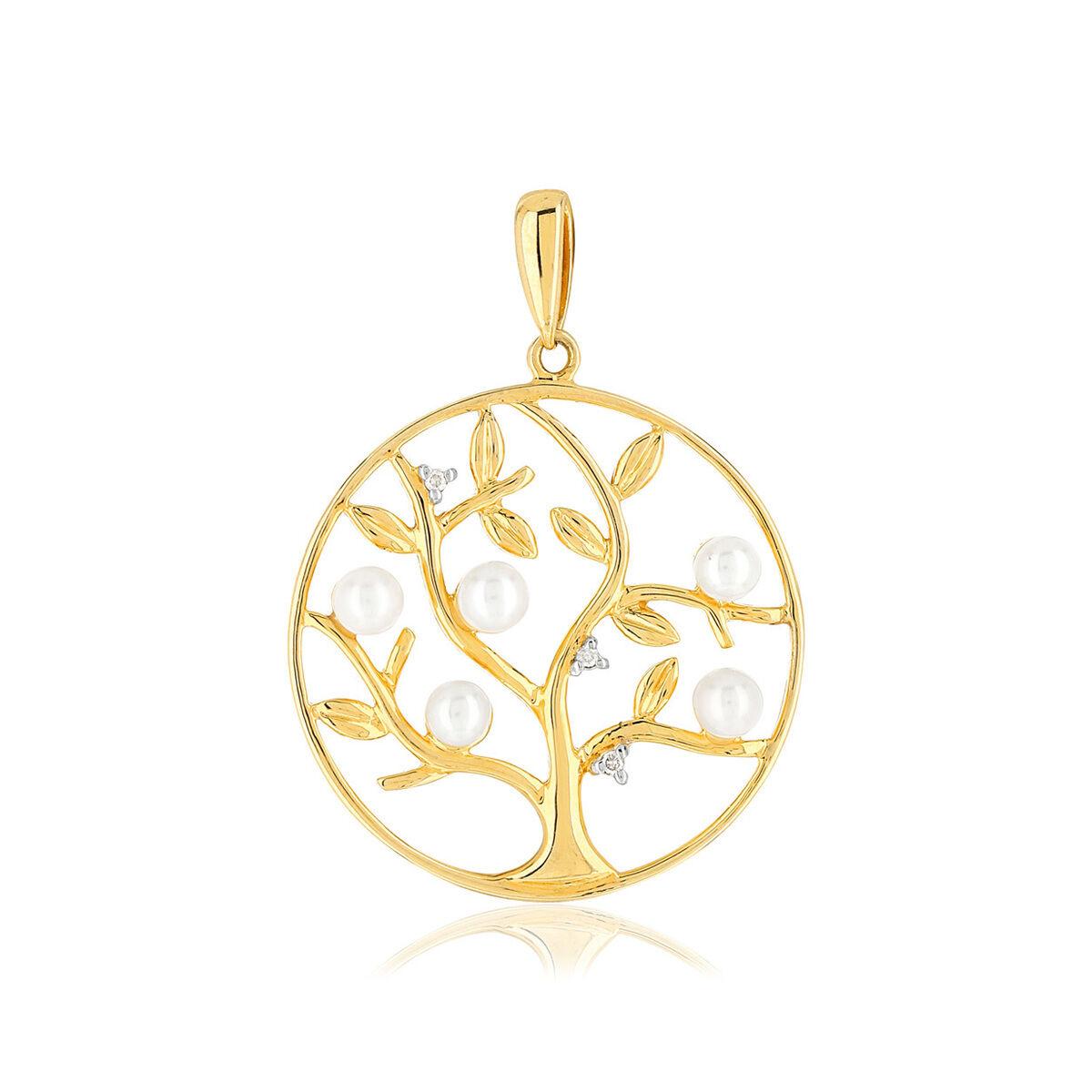 MATY Pendentif or 375 jaune arbre de vie perles de culture de Chine et diamants -
