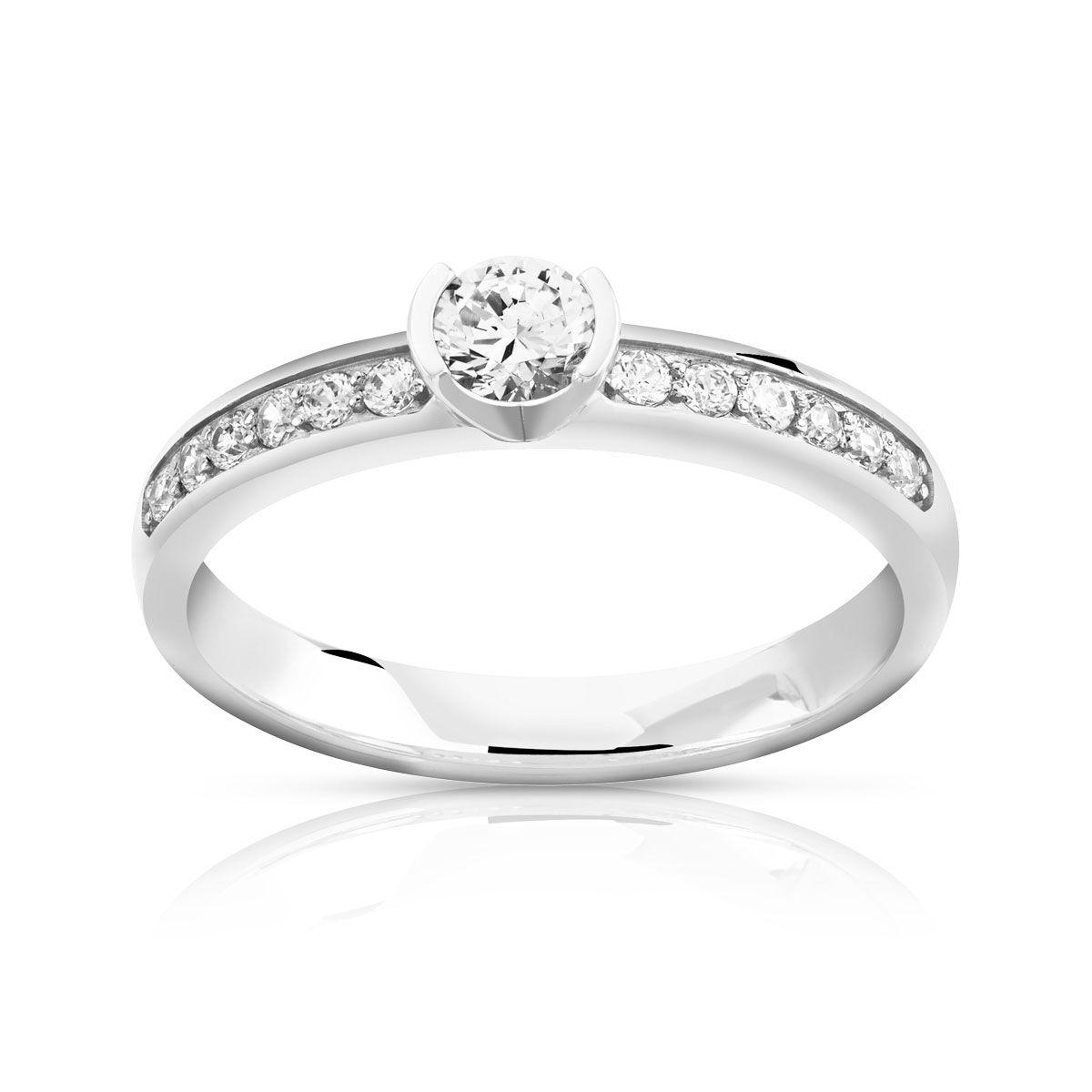 MATY Bague solitaire or 750 blanc diamant 40/100e de carat- MATY