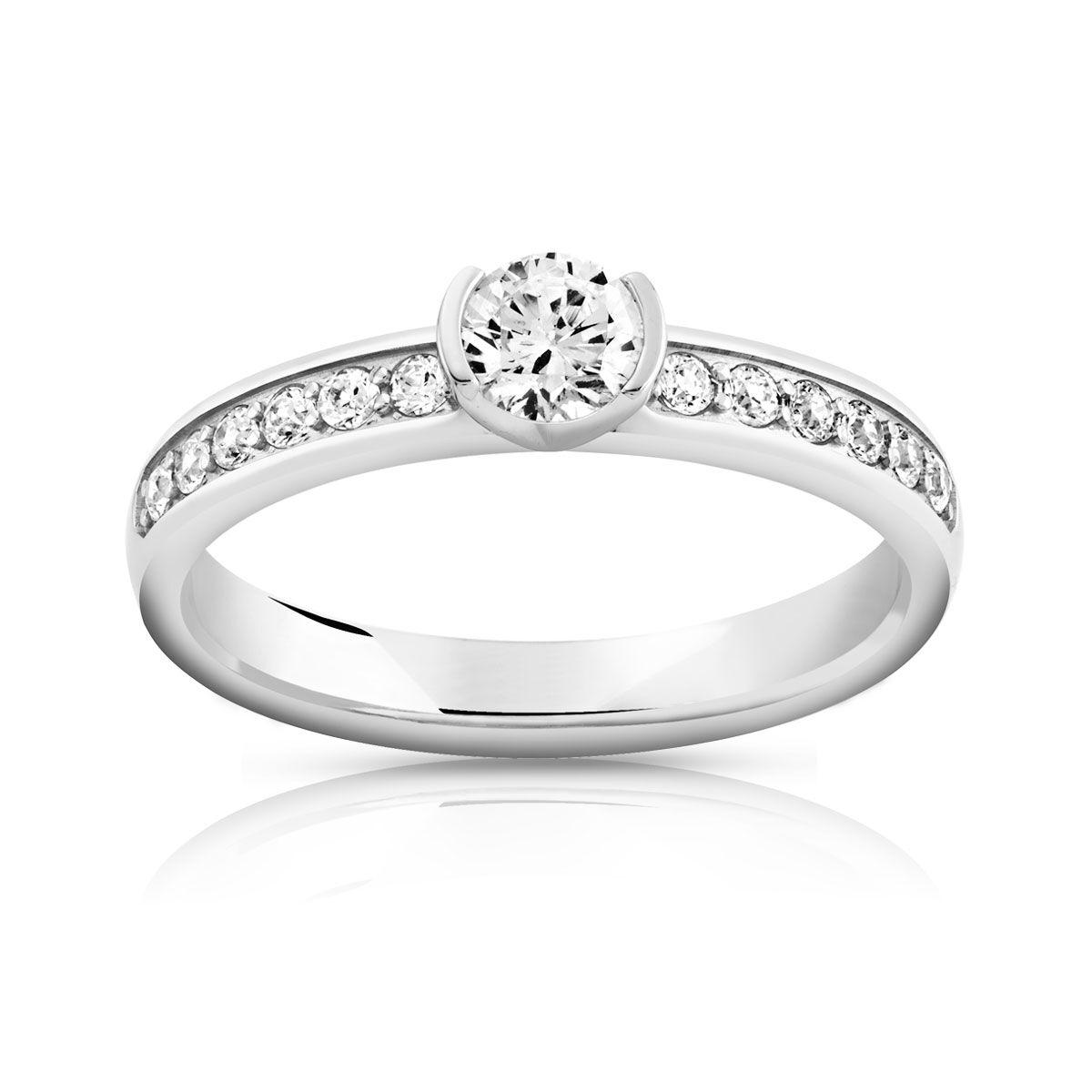 MATY Bague solitaire or 750 blanc diamant 50/100e de carat- MATY
