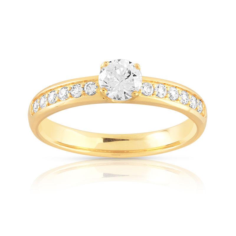 MATY Bague solitaire or 750 jaune diamant 60/100e de carat- MATY