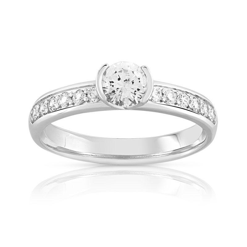 MATY Bague solitaire or 750 blanc diamant 60/100e de carat- MATY