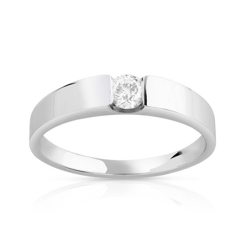 MATY Bague solitaire or 750 blanc diamant 20/100e de carat- MATY