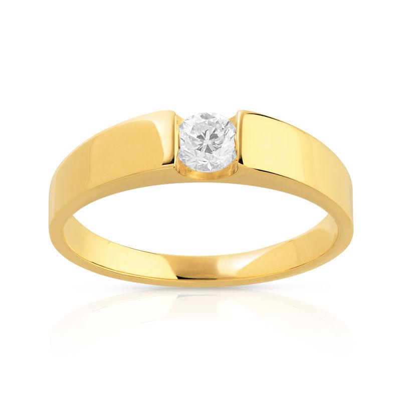 MATY Bague solitaire or 750 jaune diamant 25/100e de carat- MATY